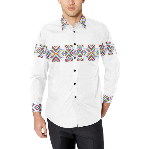 White Blanket Strip on White-1 Men's All Over Print Casual Dress Shirt (Model T61) Men's Dress Shirt (T61) e-joyer