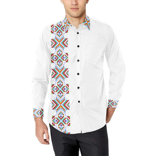 White Blanket Strip on White Men's All Over Print Casual Dress Shirt (Model T61) Men's Dress Shirt (T61) e-joyer