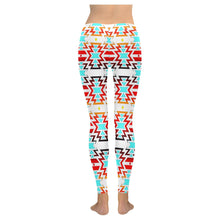White Fire and Sky Low Rise Leggings (Model L05) Low Rise Leggings (Invisible Stitch) (L05) e-joyer