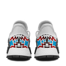 White Fire and Turquoise Okaki Sneakers Shoes 49 Dzine