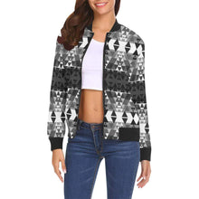 Writing on Stone Black and White All Over Print Bomber Jacket for Women (Model H19) All Over Print Bomber Jacket for Women (H19) e-joyer