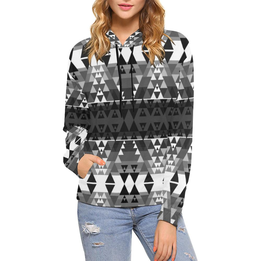 Writing on Stone Black and White All Over Print Hoodie for Women (USA Size) (Model H13) All Over Print Hoodie for Women (H13) e-joyer