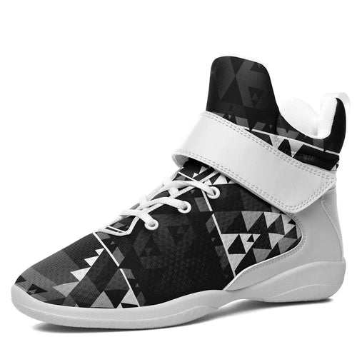 Writing on Stone Black and White Ipottaa Basketball / Sport High Top Shoes - White Sole 49 Dzine US Men 7 / EUR 40 White Sole with White Strap