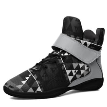 Writing on Stone Black and White Kid's Ipottaa Basketball / Sport High Top Shoes 49 Dzine US Child 12.5 / EUR 30 Black Sole with Gray Strap