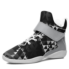 Writing on Stone Black and White Kid's Ipottaa Basketball / Sport High Top Shoes 49 Dzine US Child 12.5 / EUR 30 White Sole with Gray Strap