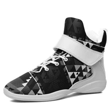 Writing on Stone Black and White Kid's Ipottaa Basketball / Sport High Top Shoes 49 Dzine US Child 12.5 / EUR 30 White Sole with White Strap