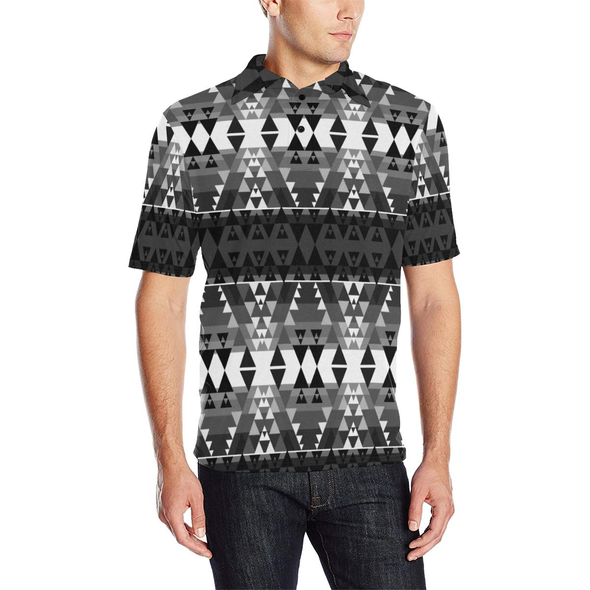 Writing on Stone Black and White Men's All Over Print Polo Shirt (Model T55) Men's Polo Shirt (Model T55) e-joyer