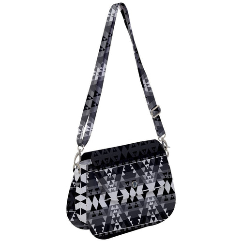 Writing on Stone Black and White Saddle Handbag cross-body-handbags 49 Dzine