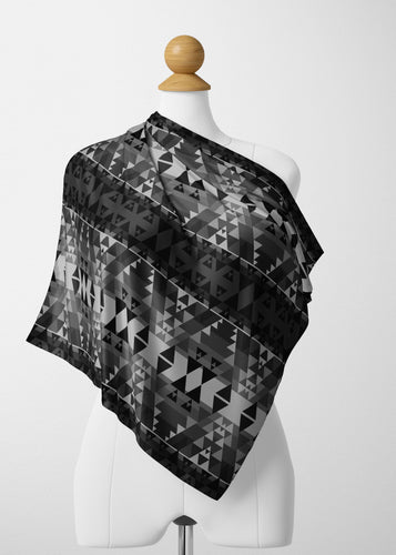 Writing on Stone Black and White Satin Shawl Scarf 49 Dzine