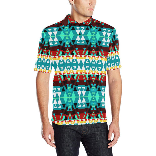 Writing on Stone Wheel Men's All Over Print Polo Shirt (Model T55) Men's Polo Shirt (Model T55) e-joyer