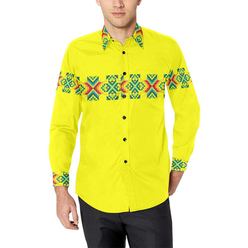 Yellow Blanket Strip-1 Men's All Over Print Casual Dress Shirt (Model T61) Men's Dress Shirt (T61) e-joyer