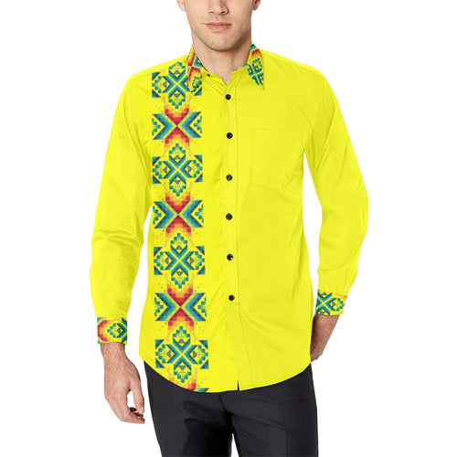 Yellow Blanket Strip Men's All Over Print Casual Dress Shirt (Model T61) Men's Dress Shirt (T61) e-joyer