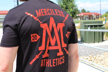 The Merciless Athletics Premium Barbell Scoop Bottom Tee - Red on Black