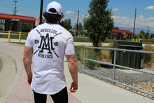 The Merciless Athletics Premium Barbell Scoop Bottom Tee - White on Black