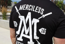 The Merciless Athletics Premium Barbell Scoop Bottom Tee - Black on White
