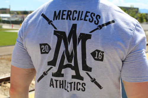 The Merciless Athletics Premium Barbell Scoop Bottom Tee - Black on Heather Gray