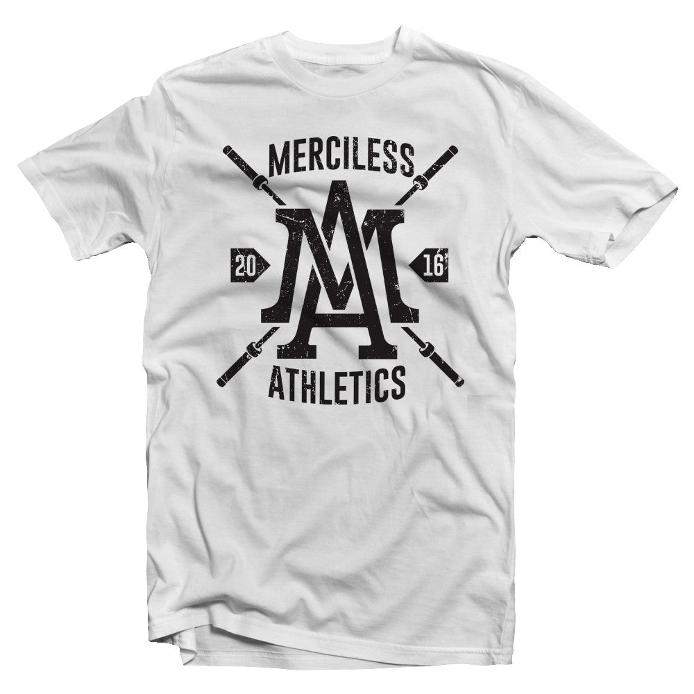 White Merciless Athletics Barbell Tee