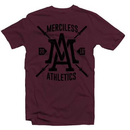 Merciless Athletics Black on Maroon Barbell Tee