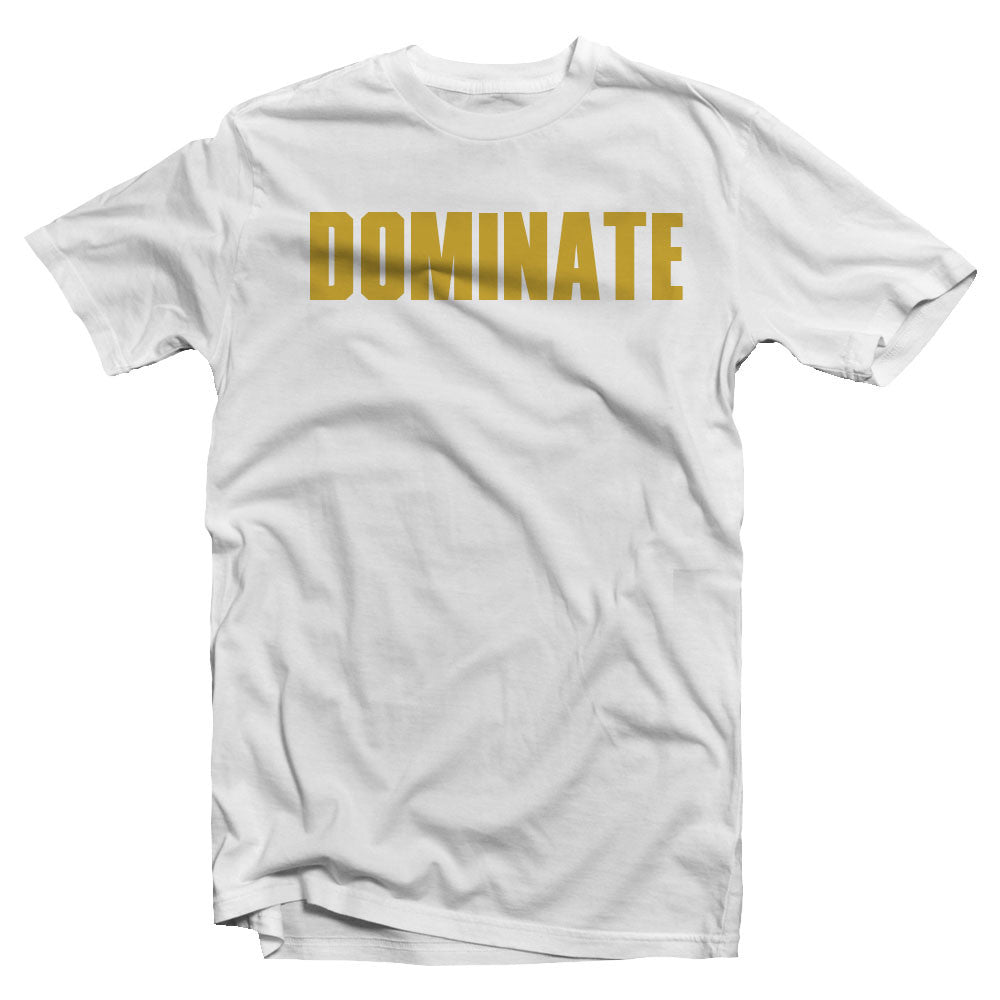 Merciless Athletics Gold on White Dominate tee