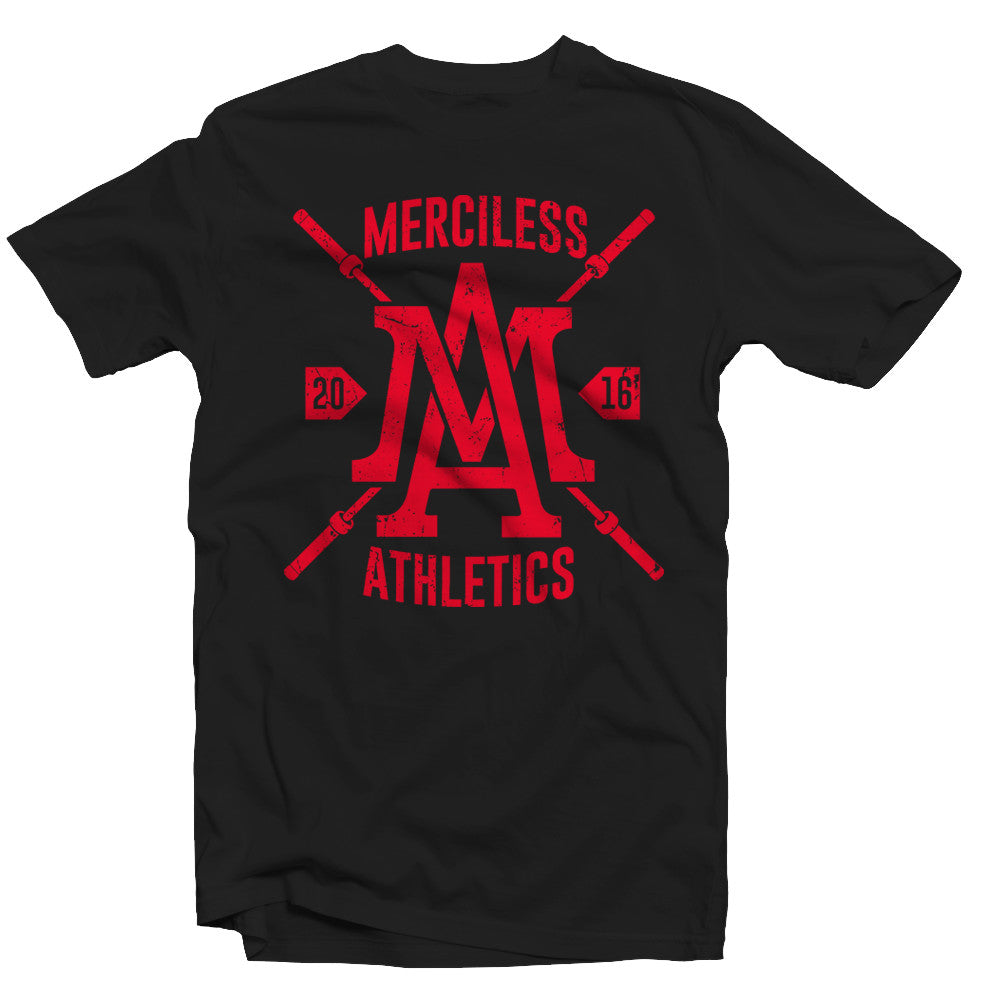Merciless Athletics Red on Black Barbell Tee