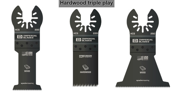 The Hardwood Triple Play - 3 Imperial Blades Oscillating Made for Wood Blades (IBOA200, IBOA220 and IBOA250)