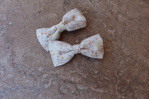 White/Orange Floral Knot Baylee Boo Bows