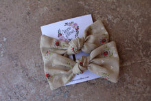 Load image into Gallery viewer, Tan Floral Baylee Boo Bows
