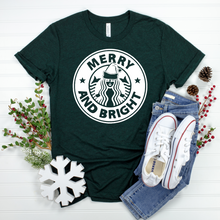 Load image into Gallery viewer, Merry & Bright Coffee Tee