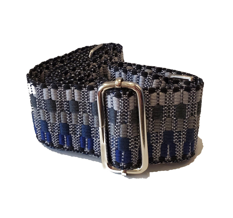 Mix & Match Bag Strap in Black/Grey/Blue Embroidered