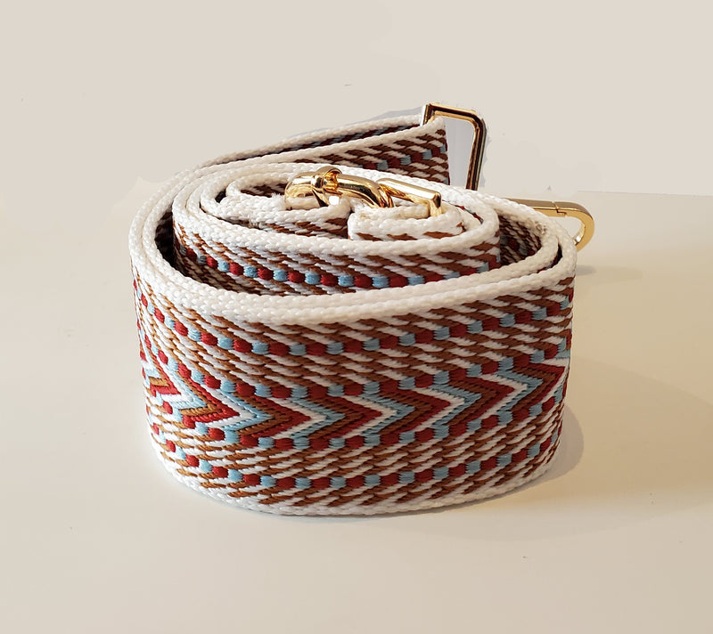 Mix & Match Bag Strap in Camel/White/Light Blue/Red Embroidered