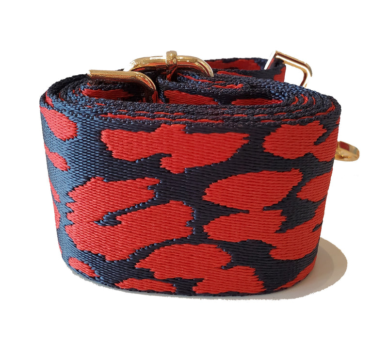 Mix & Match Bag Strap in Red/Navy Leopard
