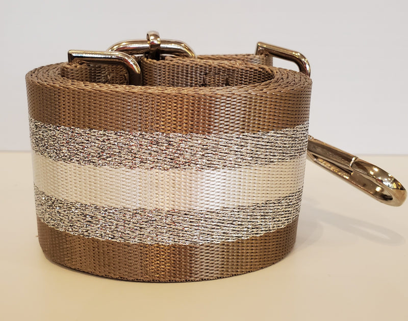 Mix & Match Bag Strap in Taupe/Silver/White Stripe