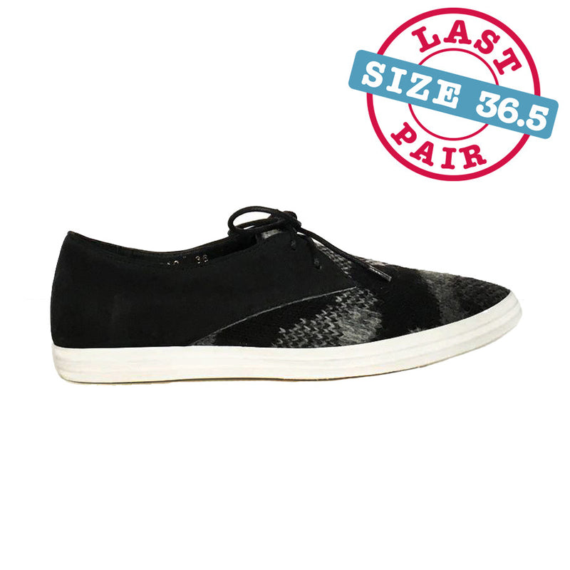 Wooly Laceup Sneak by All Black in Black/Grey