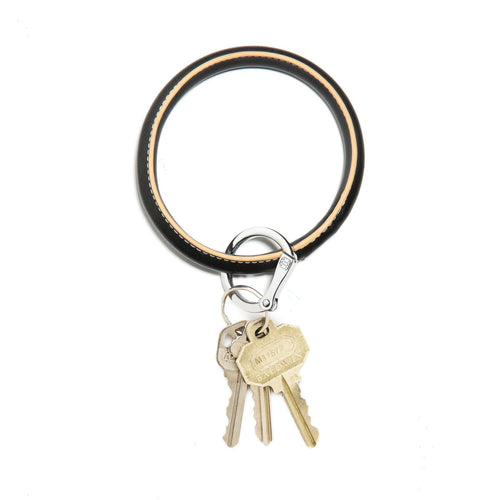 Big O Leather Key Ring in Back in Black