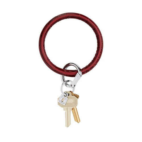 Big O Leather Key Ring in Merlot Croc