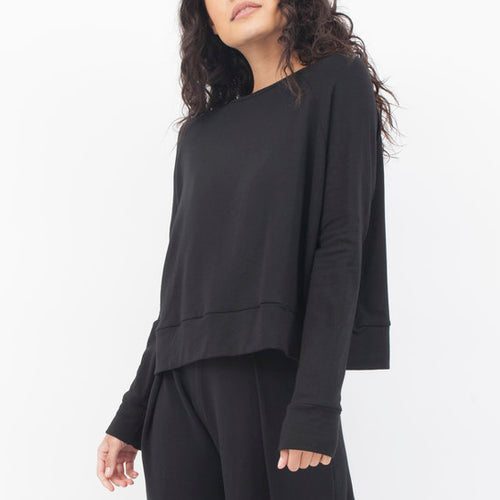 Cuffed Cox Sweater in Black