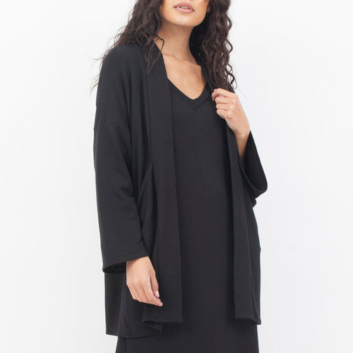 Long Pocket Kimono in Black