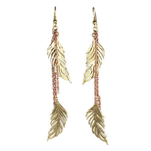 brass feathers earrings