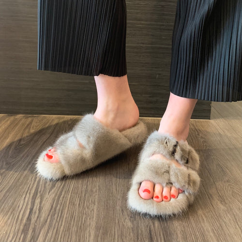 Mink Slippers in Grey