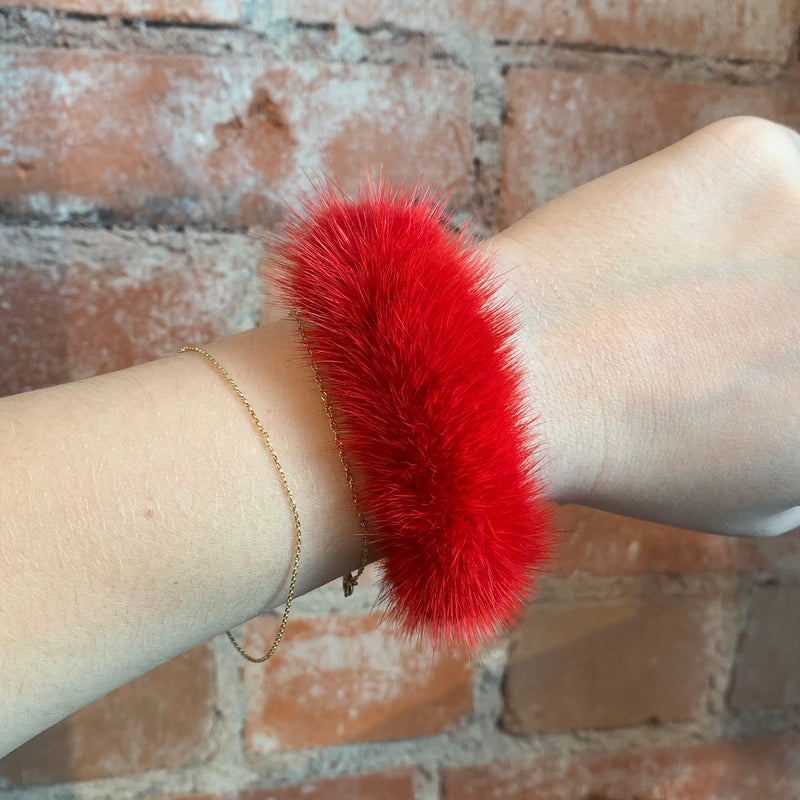 Mink Hair Tie in Red