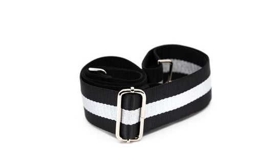 Mix & Match Bag Strap in Black/Silver Stripe