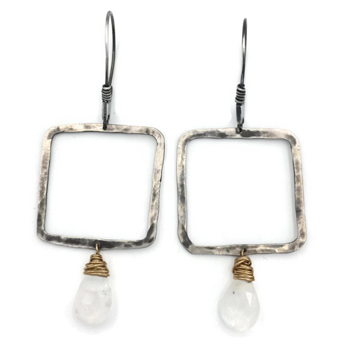 Square Gem Drop Earrings