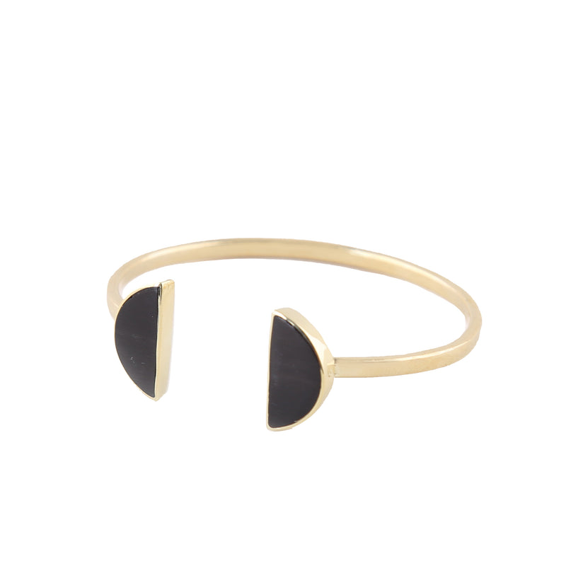 Split Moon Cuff in Brass and Horn