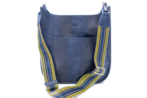 Faux Snake Messenger Bag in Navy/Aztec Strap