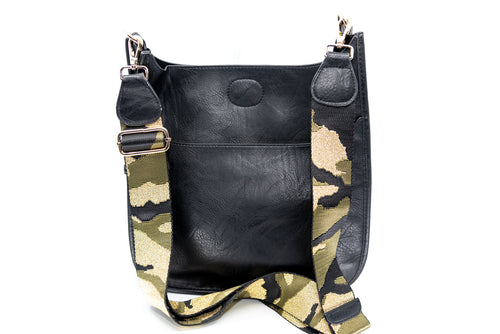 Studded Messenger Bag in Black/Gold Camo Strap