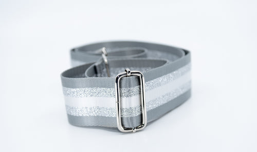 Mix & Match Bag Strap in Grey/Silver Stripe