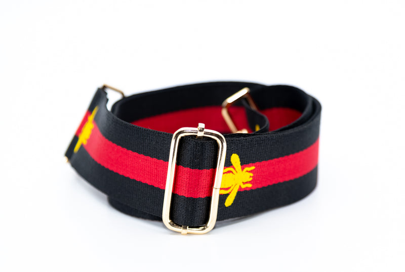 Mix & Match Bag Strap in Black/Red/Gold Bee Stripe