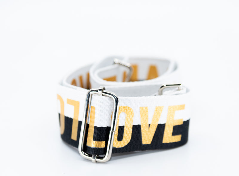 Mix & Match Bag Strap in Black/White LOVE