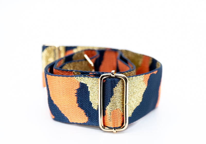 Mix & Match Bag Strap in Navy/Orange/Gold Camo