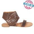 Square Perf Sandal in Brown